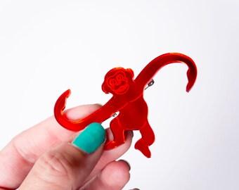 Monkey Pin. Barrel o' Monkeys Brooches. Laser Cut Acrylic Toy Pin. Mirror Red. 90s Pin. Kids Jewellery. Tumblin' Monkeys. Animal Brooch.