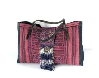 sapa bag - dzao bag, hmong bag - ethnic tote, tribal tote, pink bag, ooak