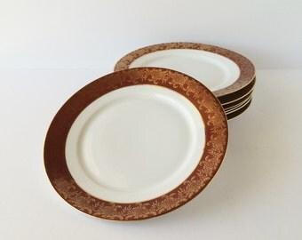 Vintage Antique Dinner Plates Hutschenreuther Selb LHS Bavaria Set of Seven, Gold Encrusted Brick-Red Band Porcelain Dinner Plates