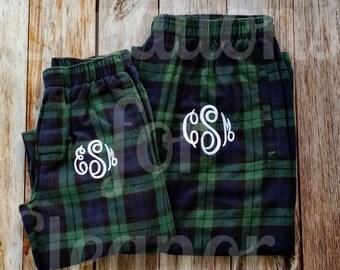Monogrammed Pajama Pants, Monogrammed Loungewear, Flannel Plaid Lounge Pants, Monogrammed Plaid Pajama Pants, Monogrammed PJ Pants, Flannel