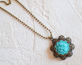 Turquoise Flower Pendant Necklace, Flower Necklace, Turquoise Necklace