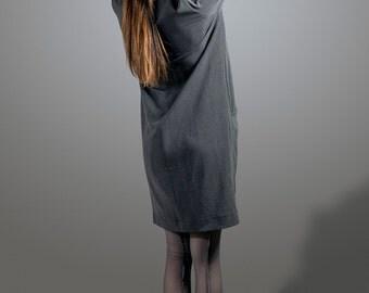Grey Midi Dress- loose dress- women dress- dress with pockets- Greek style dress