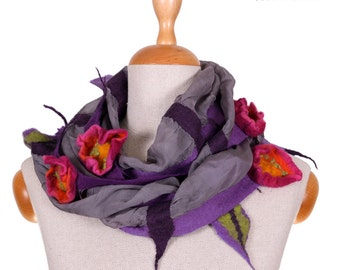 SALE!!!  felted shawl, attractive nuno felted necklace, gorget, elegant handmade collar, artistic wrap with lovely flowers - by inmano