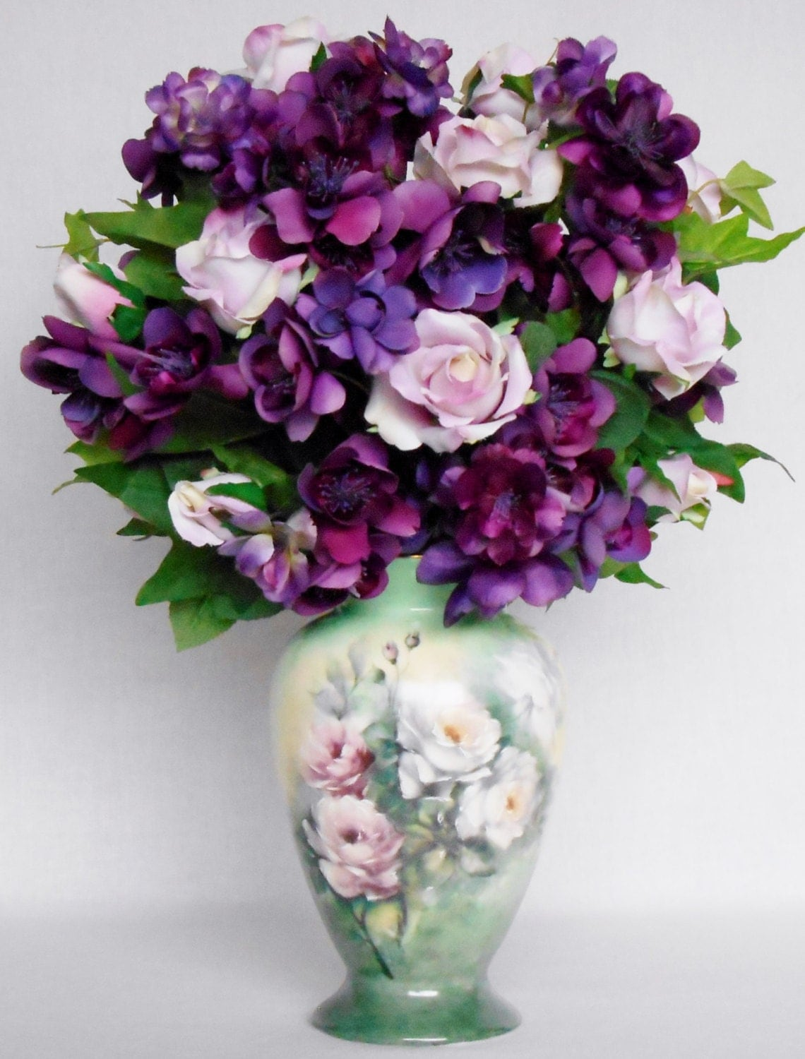 Silk flower arrangement pink roses purple blossoms for Pink and blue flower arrangements