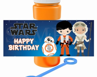 Kids Star Wars Birthday Party Bubble Labels or Treat Bag Topper - Printable DIY File