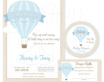 Up up and away Hot Air Balloon Baby Shower Theme -Printable Party Invitation