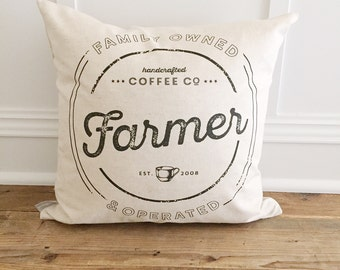 Custom Family Name Coffee Pillow Cover