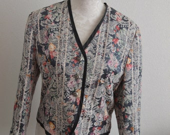 Vintage linen cotton flowers blazer fitted structured small