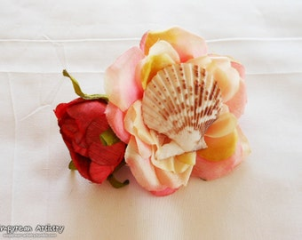 Flower Hair Barrette - Seashell Hair Barrette - Nautical and Beach Hair Piece - Large Flower Hair Piece - Pink and Red Roses