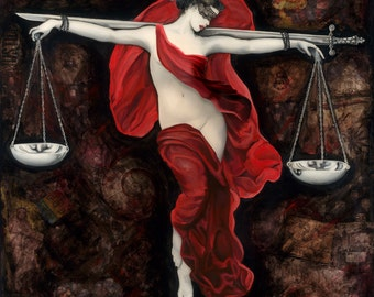 Lady Justice (Edited) Art Print, Political, Philosophical, Statement Art by Jamie Rice