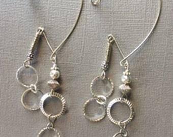 silver hoops, pair, 2 hang, 3 in. dangle