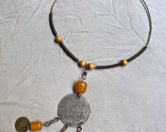 70s Brass Hippie Torque Ring Necklace / Coin Pendant and Amber Beads