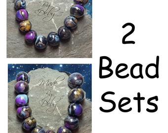 Round Polymer Clay Beads Purple Blue Pearl Gold Black Artisan Handcrafted 2 Sets Choice