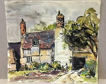 Watercolur timber frame cottage, English country house, Country landscape, Village scene