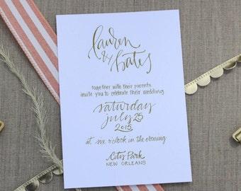 Elegant Calligraphy Wedding Invitation ~ Traditional Wedding Invite ~ Simple Wedding Invitation ~ Blush, Grey, White, Gold, Custom