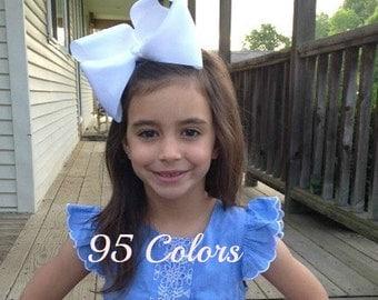6 inch Hair Bows, Extra Large Hair Bows, Big Hair Bows, Girls Hair Bows, 600
