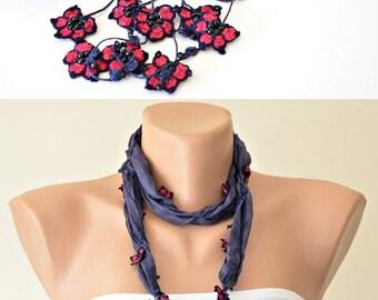 Beaded Wrap Scarf, Boho Foulard, Beaded Necklace, Skinny Scarf, Oya Crochet Necklace, Blue Necklace, Jewelry Scarf, Fringed Scarf