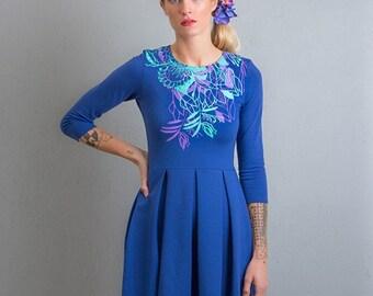 Lake plants - Skater dress / Blue dress / Folded skirts