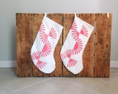 RESERVED FOR Holly - Vintage Quilt Christmas Stocking, Red and White Stocking Quilt, Two Christmas Stockings, Antique Quilt Stockings
