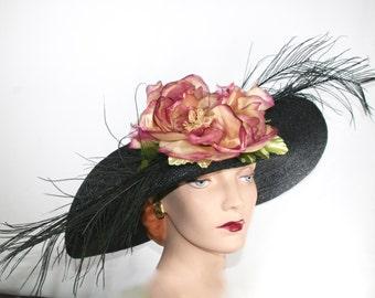 Kentucky Derby WIDE BRIM Black Straw Hat, Black Easter Hat