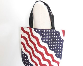 Canvas Tote Bag American Flag Bag