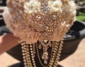 Gold and Ivory Brooch Bouquet, COMPLETED Bouquet for Tara Only