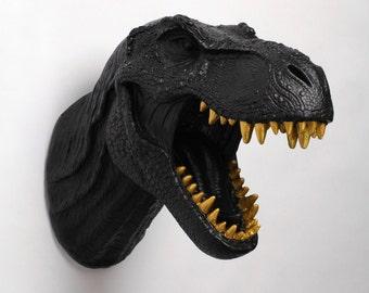Dinosaur Wall Mount in Black - The Rufus w/Gold Teeth - Black Resin T-Rex Wall Decor - Trex Dinosaur Decor by White Faux Taxidermy