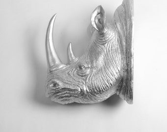 XL Silver Resin Rhino Head - The Goliath in Silver - White Faux Taxidermy - Faux Taxidermy - Rhino Resin White Faux Taxidermy- Chic & Trendy