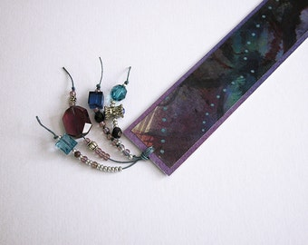 Unique painted bookmark / modern abstract design / blue / purple / green / multicolor / beaded / BK-152