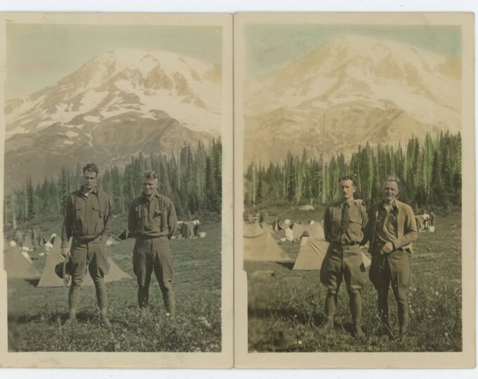 Two Tinted Photos: Soldier Pals, Mountain Army Camp, c1910s  Vintage Snapshot Photo [71480]