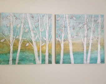 Tree Paintings, Contemporary Set of Two, 24 X 24 Textured White Branches, Aqua Yellow and Teal Serene Landscape Painting