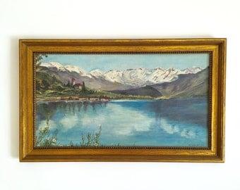 Mid Century Original Oil Painting / Framed Original Oil Painting / Mid Century Landscape / Landscape Painting / Gold Frame / Shabby Chic