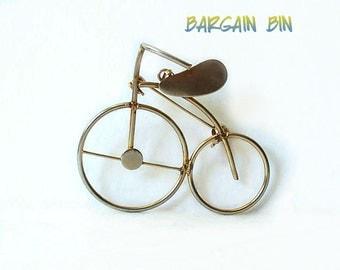 Vintage Bike Bicycle Brooch Pin Pendant gold tone Bargain Bin