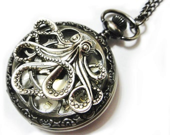 Octopus Dark Black Pocket Watch Necklace - Golden Watch Face