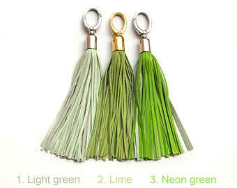 Leather Tassels, Light green and neon green long tassel keychains