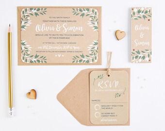 Botanical Rustic Kraft Wedding Invitation Bundle
