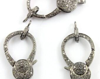 Bulk WHOLESALE, 3 PCS., Pave Diamond Lobster Clasp, .925 Oxidized Sterling Silver Diamond Findings, handmade pave diamond clasp  (DC-B3-014)