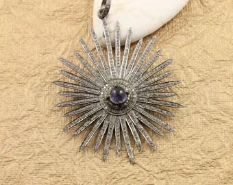 Pave Diamond Pendant, Pave Star Pendant, Diamond Star Charm, Pave Star  Iolite  pendant, Diamond Star Pendant, Pave Connector.(DCH/CR300)
