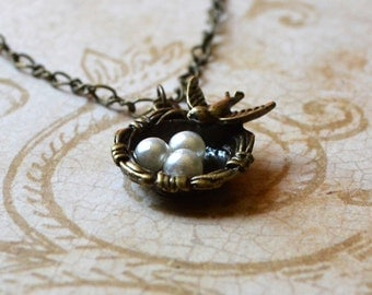 Bird's Nest Eggs Mother's Day Necklace Pearl Mother Antique Bronze Gift Birdwatcher Bird Lover Fashion Jewelry Paisley Beading FREE Shipping