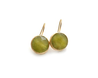 Gold Plated Round Yellow Jade Earrings
