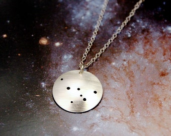 Cassiopeia constellation sterling silver necklace
