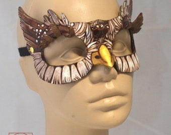 Made To Order Horned Brown Owlet Owl Leather Cosplay Masquerade Mask