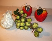 Jeweled fruit,beaded fruit,craft supply, floral supply,Jewelled fruit,grapes,pear,apples,vintage fruit,kitsch decor,
