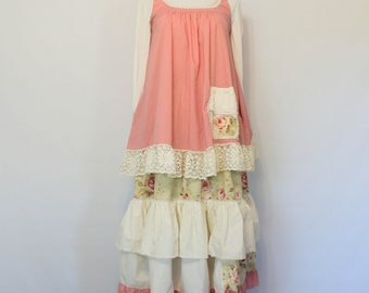 Shabby Chic Lagenlook Womens Clothing Romantic Frock Mori Girl Upcycled Clothes