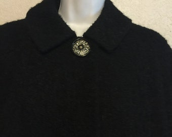 Black Boucle 1960s Swing Coat & Skirt with Glitter Buttons