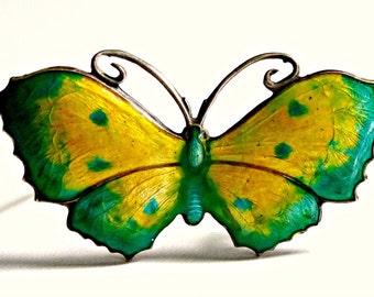 John Atkins and Son Style Art Nouveau Sterling Silver Guilloche Enamel Butterfly Brooch