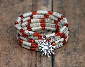 Under the Tuscan Sun, Under the Tuscan Sun gift, Frances Mayes, orange bracelet, recycled book bracelet, book lover gift, sun charm bracelet