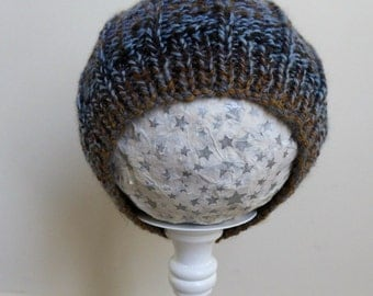 Hand knitted baby hat, brown & blue, wool blend childs hat, fit approx. 18 months to 3 years boy