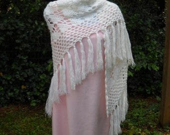 Vintage Handmade Crocheted White Shaw Wrap 1960s to 70s