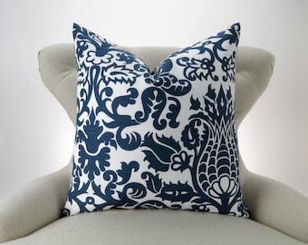 Navy Throw Pillow Cover, Accent Pillow, Decorative Cushion, Euro Sham, Navy Blue & White Pillow -MANY SIZES- Amsterdam Slub Premier Prints